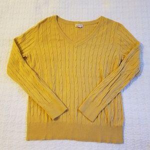 Merona Mustard Yellow Cable Knit Sweater